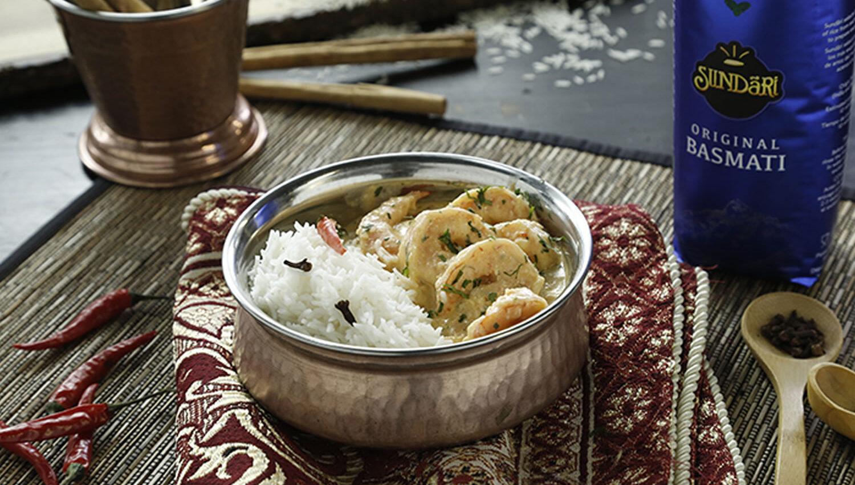 Langostinos con arroz basmati